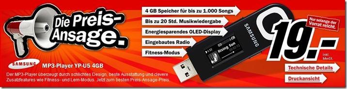 DiePreisAnsageSamsungMP3PlayerYPU54GB Die Preis Ansage: Samsung MP3 Player YP U5 4GB für 19,  Euro.