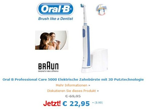 oralb5000 Nur heute: Oral B Professional Care 5000 für 28,90€