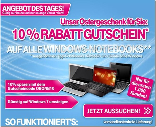 10prozentnotebook 10% Rabatt auf alle Windows Notebooks