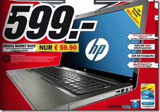 MediaMarktHPG72120G Media Markt: Notebook HP G72 120EG für 599€