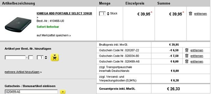 iomega Iomega Portable Select 320GB externe Festplatte (2,5 Zoll) ab 26,33€