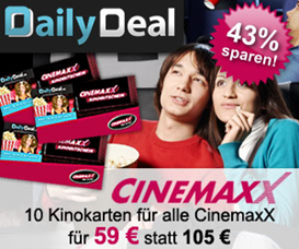 dailydeal cinemaxx gutschein plus softdrink ab 4 50 bestandskunden 7 50 10 tickets f r 59. Black Bedroom Furniture Sets. Home Design Ideas
