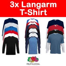shirt gal2 3x FRUIT OF THE LOOM Langarm Long Sleeve T Shirt für 11,99€