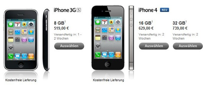 iphone4g Apple iPhone ohne Sim Lock offiziell im Apple Store