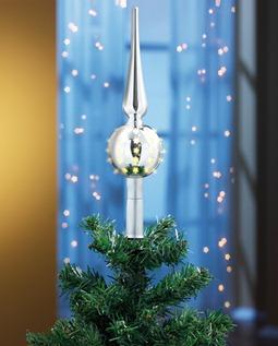 LED Tannenbaumspitze Baumspitze silber m. Fernbedienung