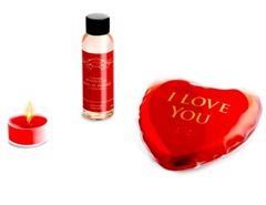 eismassage1 Massage Set bestehend aus Massage Öl, Teelicht und wärmendes Gel Kissen für 2,97 Euro incl. Versand