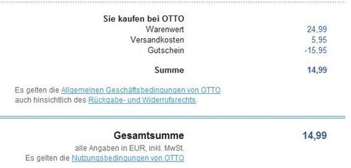 inception [Knaller] Otto.de   15,95 Euro Neukundengutschein   so z.B. PS3 Fernbedienung incl. Blu ray Inception für 14,99 Euro