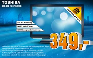image257 Saturn: Toshiba 32 HL 833 G 81 cm (32 Zoll) LED Backlight Fernseher (Full HD, 50Hz, analog, DVB T, DVB C ) für 349 Euro