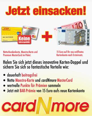 image7 cardNmore – Dauerhaft kostenlose Kreditkarte von Netto (mit 15 Euro Startguthaben)