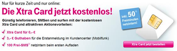 image85 Kostenlose Xtra Card mit 3 Euro Startguthaben + 50 netzinternen Freiminuten