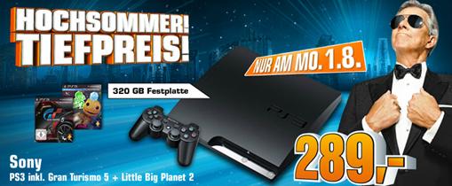 image373 Saturn am 01.08: Sony PS3 (320GB) inkl. Gran Turismo 5 und Little Big Planet 2 für 289 Euro
