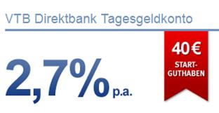 image264 [Nur noch heute] VTB Direktbank – 2,7% aufs Tagesgeldkonto sowie 40 Euro Startguthaben geschenkt + Quartalszinszahlung