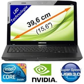 6630 Medion P6630 Notebook (i3 2,66Ghz, 4GB Ram, 640GB Festplatte, NVIDIA GT540M mit 1024MB und Windows 7 Home) für 399 Euro