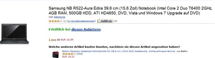 image141 [Schon ausverkauft] Preisfehler: Samsung NB R522 Aura Edira Notebook für 10,99 Euro
