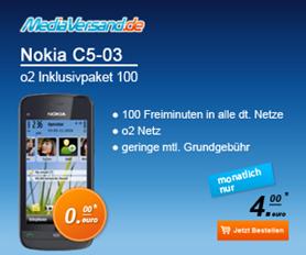 image169 Nokia C5 03 + O2 Inklusivpaket 100 (100 Freiminuten monatlich) für nur 4  Euro/Monat