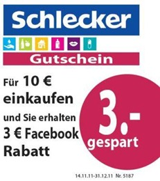 schlecker thumb Offline Gutschein: 3 Euro Schlecker Gutschein–ab 10 Euro einlösbar