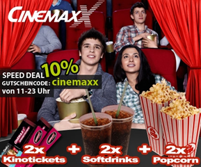 image368 Bis 23uhr: Das CinemaxX Mega Kino Doppel – 2 Tickets + 2 Softdrinks (0,5l) + 2x Popcorn für 20,61 Euro