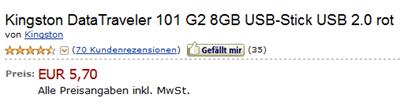 image thumb13 8GB USB Stick Kingston DataTraveler für 5,70 Euro inklusive Versand