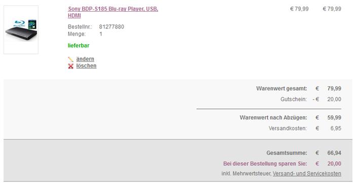 image thumb14 Sony BDP S185 Blu ray Player inkl. Blu ray The Green Hornet für 66,94 Euro inkl. Versand