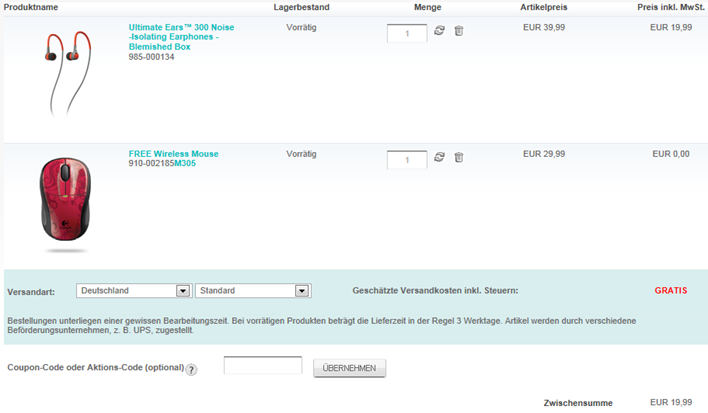 image thumb30 Logitech Ultimate Ears 300 In Ear Kopfhörer + kabellose Maus M305 für 19,99 Euro inklusive Versand