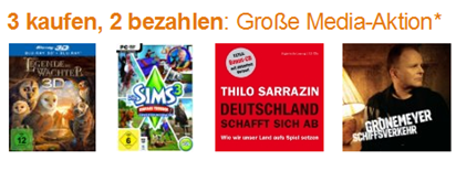 image158 Amazon Media Aktion: 3 Artikel kaufen, 2 bezahlen
