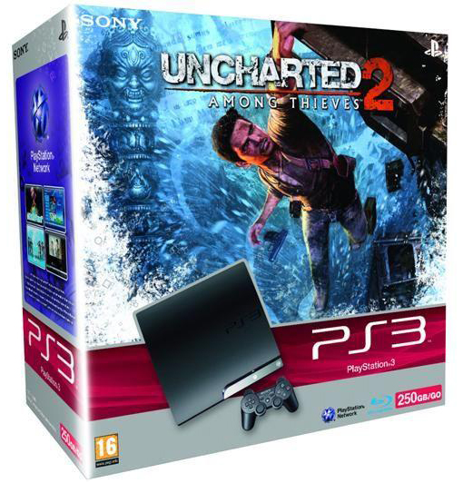 01 Sony Play Station 3 Slim 250GB (EU) & Uncharted 2 (UK) für 269€