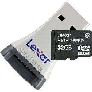 Lexar MicroSDHC CL10 32GB Speicherkarte inkl. MicroSDHC-USB-Adapter