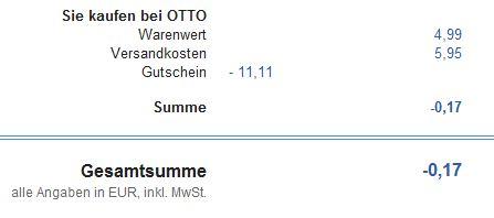 ergebnisotto 11,11€ Otto Gutschein – Artikel absolut Gratis