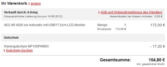 image thumb21 AEG AR 4026 Autoradio (DVD/CD, 17,5 cm (7 Zoll) LCD Display, Touchscreen, SD Kartenslot, USB, Bluetooth) für 154,80€