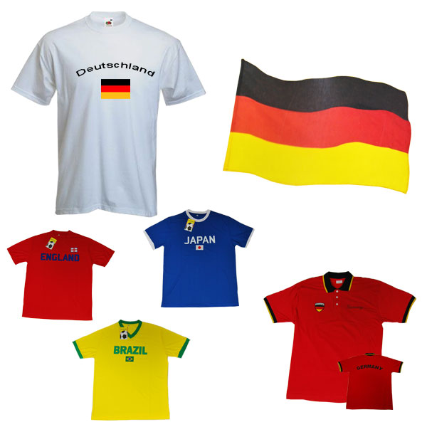 wm variante1 WM Fan Set Deutschland T Shirt Polo Trikot & Flagge
