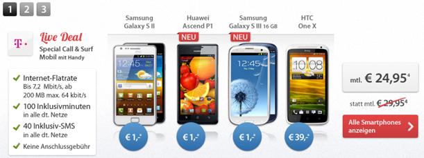 image120 Samsung Galaxy S3 für 1€ im Telekom Special Call & Surf (Internetflat + 100 Freiminuten + 40SMS) für 24,95€/Monat