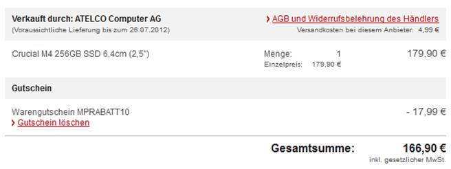 "image thumb30 Crucial M4 256GB SSD 6,4cm (2,5"") für 166,90€"