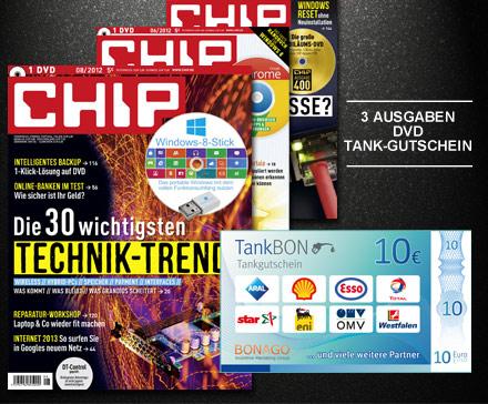 nat 120611 chip communications abo2 jj1 3 x Chip mit DVD inkl. 10€ Tankgutschein für 4,99€