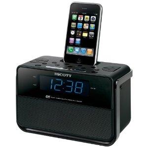 Scott i-CSX 15 Radiowecker für I-Pod und speziell I-Phone Ladefunktion (AM/FM-Tuner, 2 Weckzeiten) schwarz