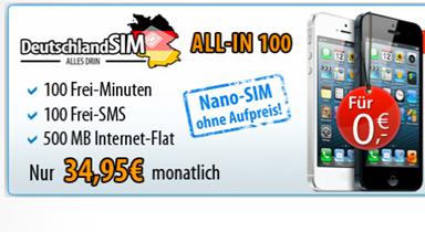 image159 iPhone 5 für 0€ mit der DeutschlandSIM All In 100 für 34,95€ pro Monat (100 SMS, 100 Freiminuten + Internetflat 500MB im o2 Netz)