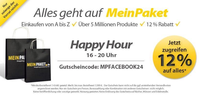 Foto: Auf euren Wunsch: HAPPY HOUR ab jetzt bis 20 Uhr12 % auf (fast) alles!Gutscheincode: MPFACEBOOK24Jetzt shoppen gehen und Gutschein einlösen: http://www.meinpaket.de/de/home.html?cid=c_dhlmp_be_dpcom_00023_00001_PteaserEuer Team von MeinPaket.de