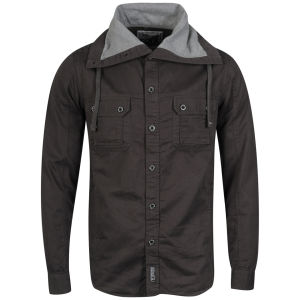 55Soul Men's Milo Long Sleeved Large Collar Shirt - Charcoal