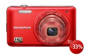 Olympus VG-160 Digitalkamera (14 Megapixel, 5-fach opt. Zoom, 7,6 cm (3 Zoll) Display, bildstabilisiert) rot