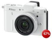 Nikon 1 V1 Systemkamera (10 Megapixel, 7,5 cm (3 Zoll) Display) weiß inkl. 1 Nikkor 10 mm Pancake Objektiv