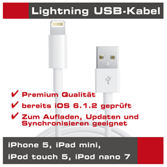 image220 Lightning Kabel für Apple iPhone 5 (USB, Ladekabel, Datenkabel, Connector) für 2,90€