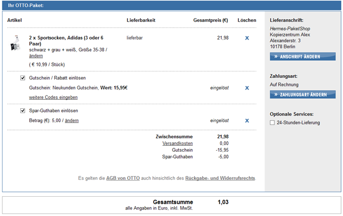 image thumb2 [Knaller] 15,95€ Neukundenrabatt bei Otto.de (ab 20€ einlösbar) + 5€ OttoCard Guthaben + keine Versandkosten – bis zu 26,90 Euro sparen