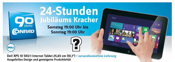 image285 Ab 19Uhr: Dell XPS 10 25,6 cm (10,1 Zoll) Tablet PC (Qualcomm 8060A, 1,5GHz, 2GB RAM, 32GB HDD, Win RT) für 290,00€