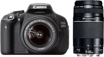 canon eos 600d kit 18 55 mm 75 300 mm Canon EOS 600D SLR Digitalkamera (18 Megapixel, 7,6 cm (3 Zoll) schwenkbares Display, Full HD)+18 55III+75 300III  für 549€