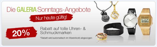 image406 Die Galeria Kaufhof Sonntags Angebote, so z.B. 20% Rabatt auf Uhren und Schmuck, 20% Rabatt auf Saunatücher usw.