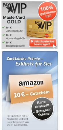 image thumb29 payVIP: kostenlose Mastercard Gold (100% gebührenfrei) + 20€ Amazon Gutschein