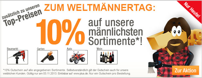 17cd07c30b18501e99b09d90b6d02f66 47867 Plus.de: 10% Rabatt auf Baumarkt, Garten, Auto sowie Wein Artikel