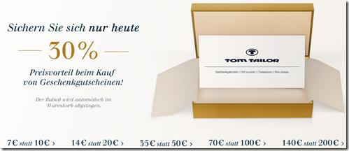 image452 [Knaller] Tom Tailor: Nur heute 30% auf Geschenkgutscheine