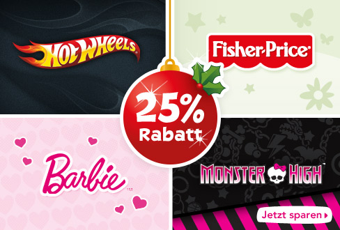 25 Prozent auf Barbie, Monster High, Hot Wheels und Fisher-Price