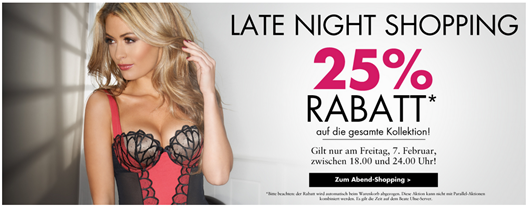 image134 Beate Uhse: Late Night Shopping – 25% Rabatt auf Dessous