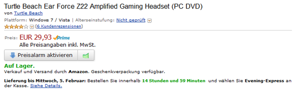 image thumb16 Preisfehler? Turtle Beach Ear Force Z22 Amplified Gaming Headset (PC DVD) für 29,93€
